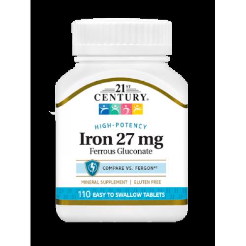 Желязо 27 мг 110 таблетки | 21st Century на марката 21st Century Vitamins от вносител и дистрибутор.