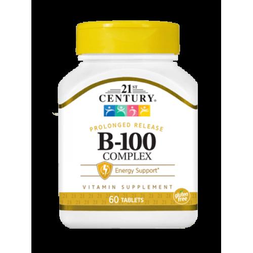 Витамин B-100 Комплекс 60 таблетки с удължено освобождаване | 21st Century на марката 21st Century Vitamins от вносител и дистрибутор.