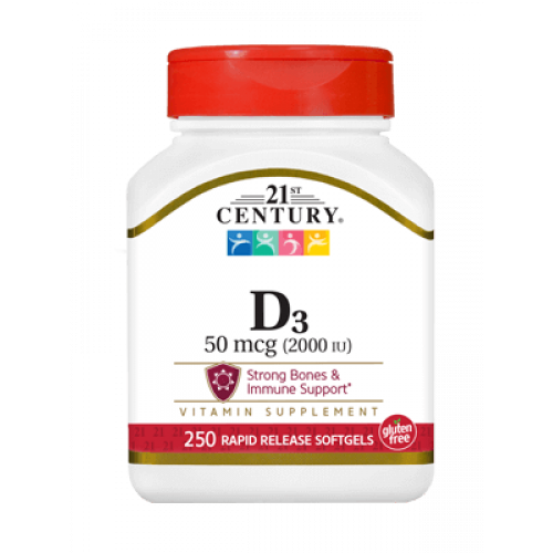 Витамин Д3 2000 IU 250 дражета | 21st Century на марката 21st Century Vitamins от вносител и дистрибутор.